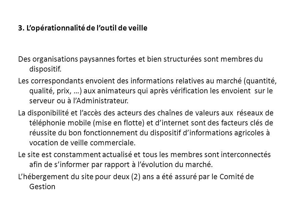 3. Lopérationnalité de loutil de veille Des organisations paysannes fortes et bien structurées sont membres du dispositif. Les correspondants envoient