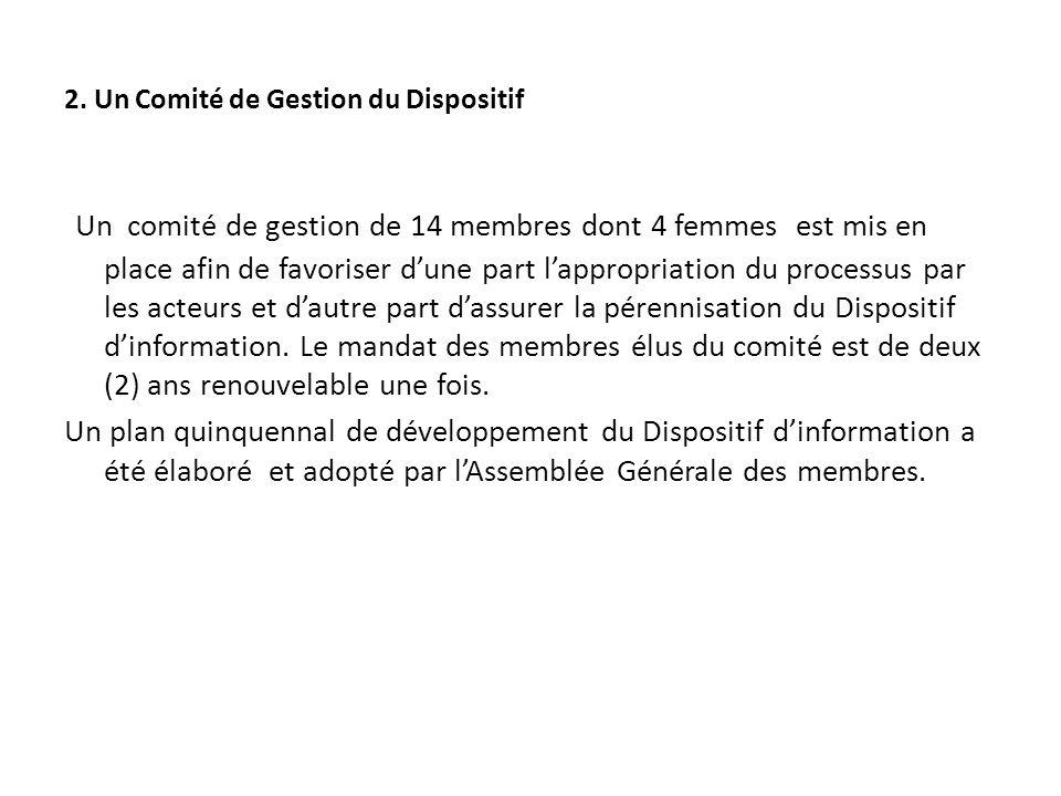 2. Un Comité de Gestion du Dispositif Un comité de gestion de 14 membres dont 4 femmes est mis en place afin de favoriser dune part lappropriation du