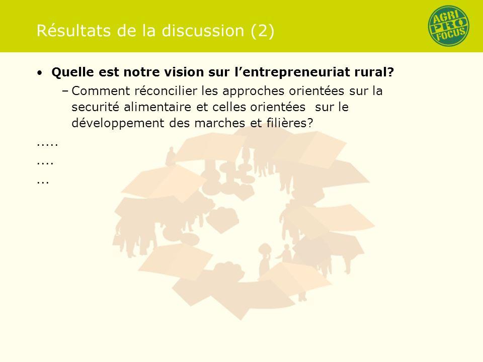 Résultats de la discussion (2) Quelle est notre vision sur lentrepreneuriat rural.