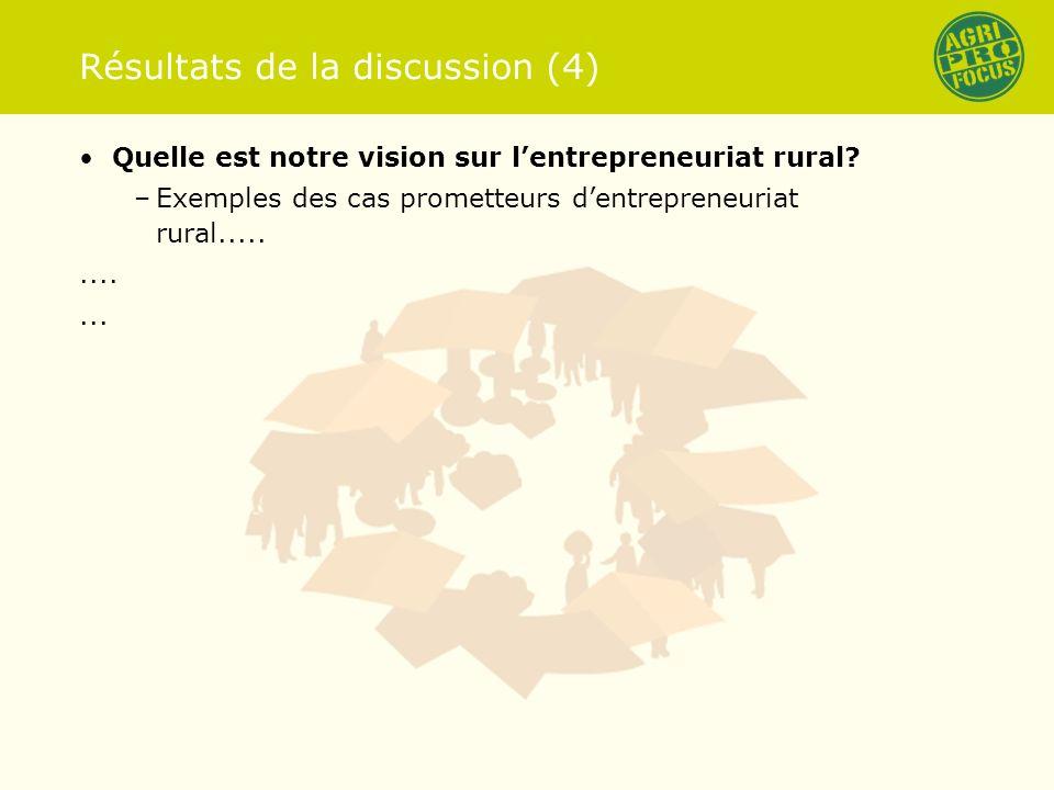 Résultats de la discussion (4) Quelle est notre vision sur lentrepreneuriat rural.