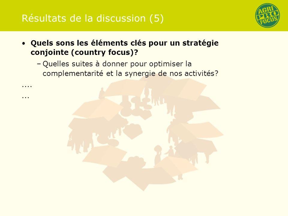 Résultats de la discussion (5) Quels sons les éléments clés pour un stratégie conjointe (country focus).