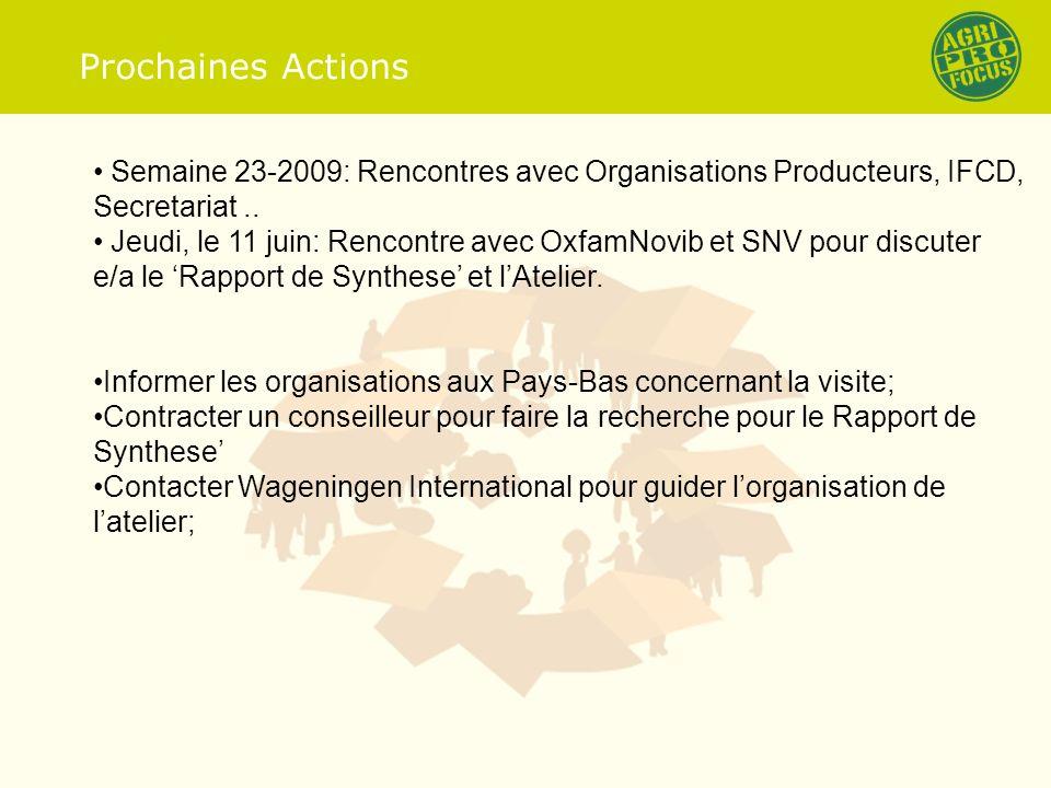 Prochaines Actions Semaine 23-2009: Rencontres avec Organisations Producteurs, IFCD, Secretariat..