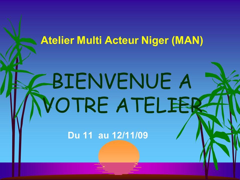 Atelier Multi Acteur Niger (MAN) Du 11 au 12/11/09 BIENVENUE A VOTRE ATELIER