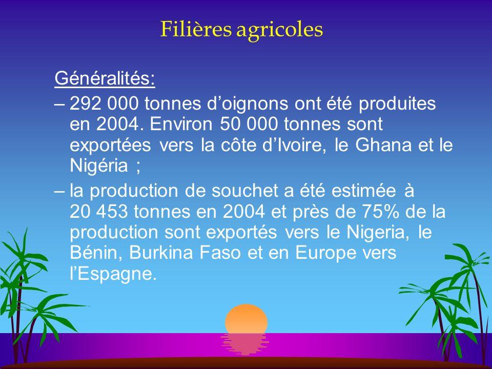 Filières agricoles Généralités: –292 000 tonnes doignons ont été produites en 2004. Environ 50 000 tonnes sont exportées vers la côte dIvoire, le Ghan