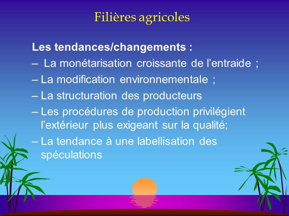 Filières agricoles Les tendances/changements : – La monétarisation croissante de lentraide ; –La modification environnementale ; –La structuration des
