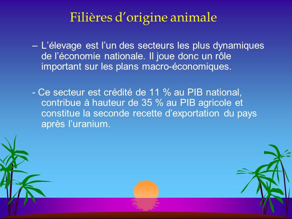 Filières dorigine animale –Lélevage est lun des secteurs les plus dynamiques de léconomie nationale. Il joue donc un rôle important sur les plans macr