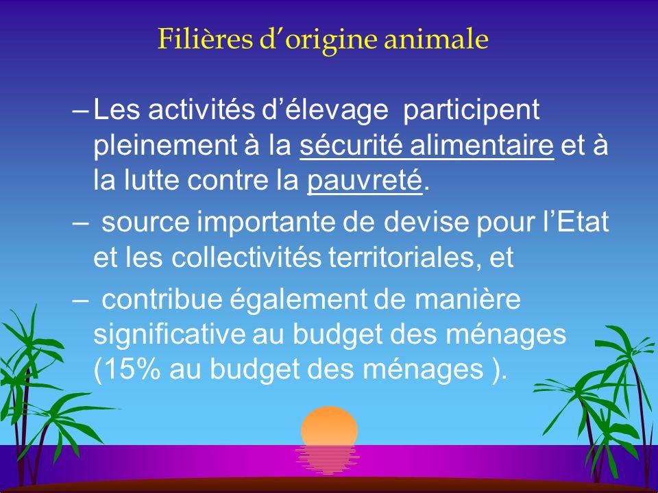 Filières dorigine animale –Les activités délevage participent pleinement à la sécurité alimentaire et à la lutte contre la pauvreté. – source importan