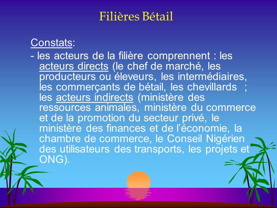 Filières Bétail Constats: - les acteurs de la filière comprennent : les acteurs directs (le chef de marché, les producteurs ou éleveurs, les intermédi