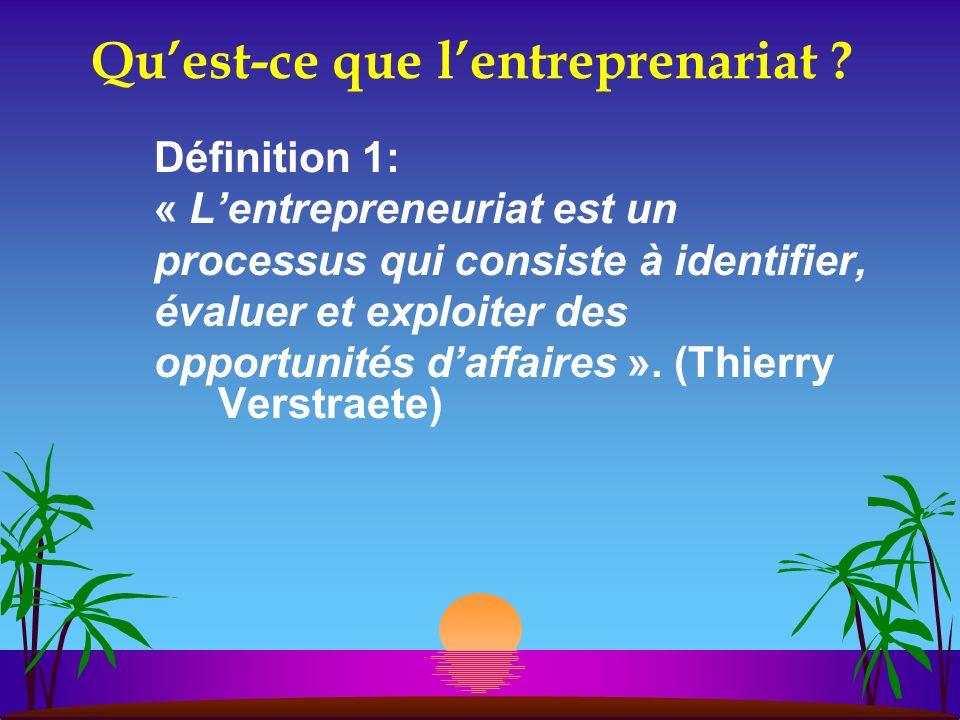 Quest-ce que lentreprenariat ? Définition 1: « Lentrepreneuriat est un processus qui consiste à identifier, évaluer et exploiter des opportunités daff
