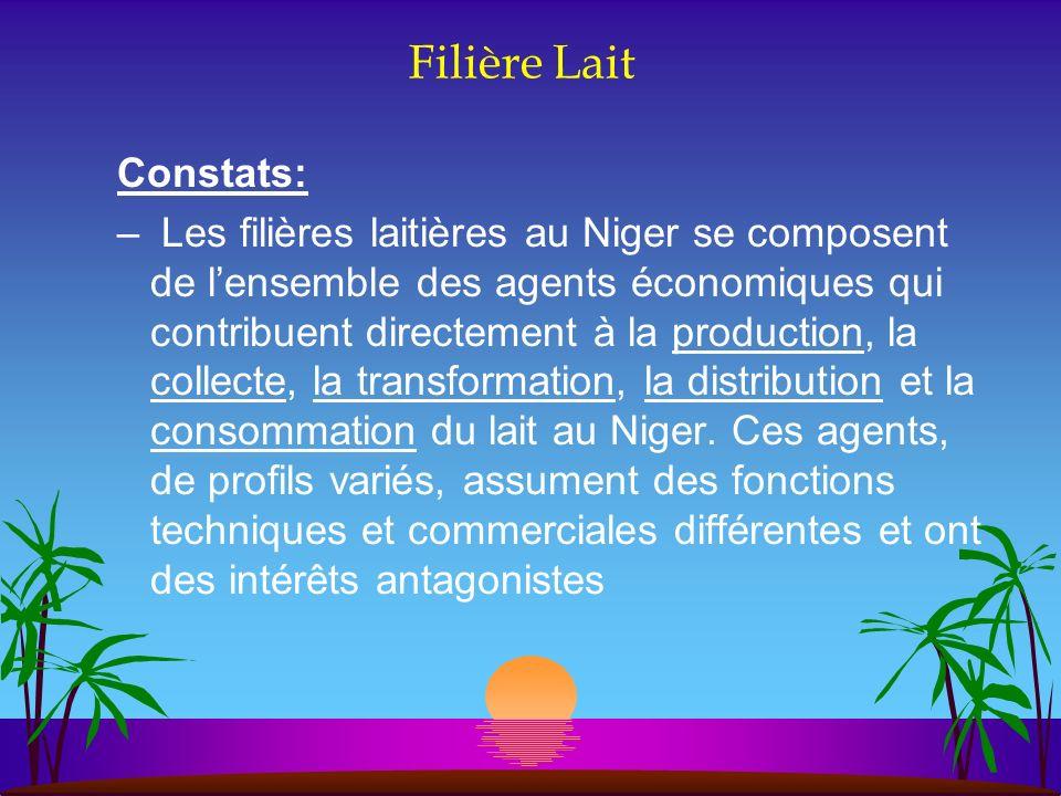 Filière Lait Constats: – Les filières laitières au Niger se composent de lensemble des agents économiques qui contribuent directement à la production,