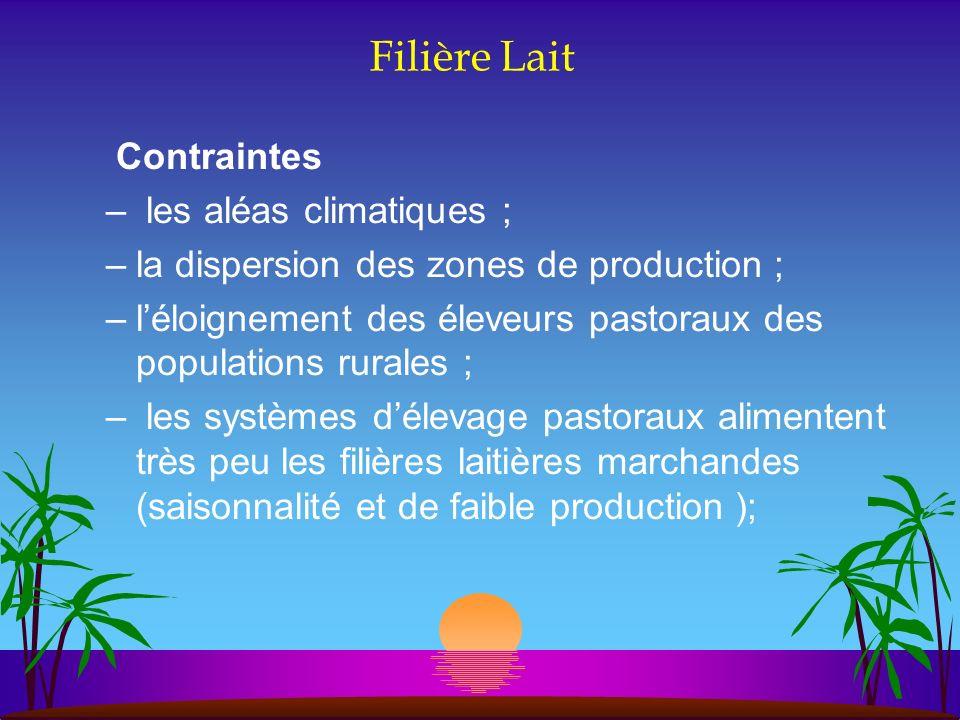 Filière Lait Contraintes – les aléas climatiques ; –la dispersion des zones de production ; –léloignement des éleveurs pastoraux des populations rural