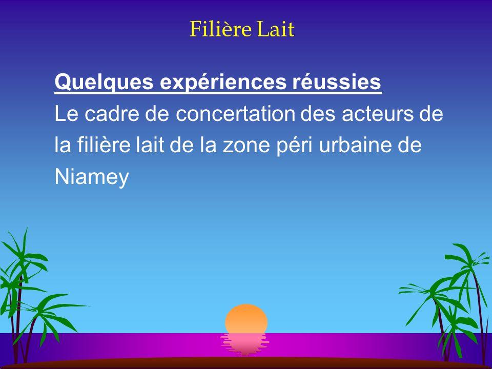 Filière Lait Quelques expériences réussies Le cadre de concertation des acteurs de la filière lait de la zone péri urbaine de Niamey