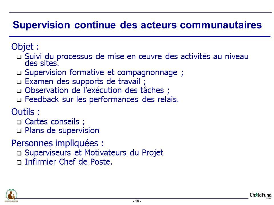 - 18 - Objet : Suivi du processus de mise en œuvre des activités au niveau des sites.