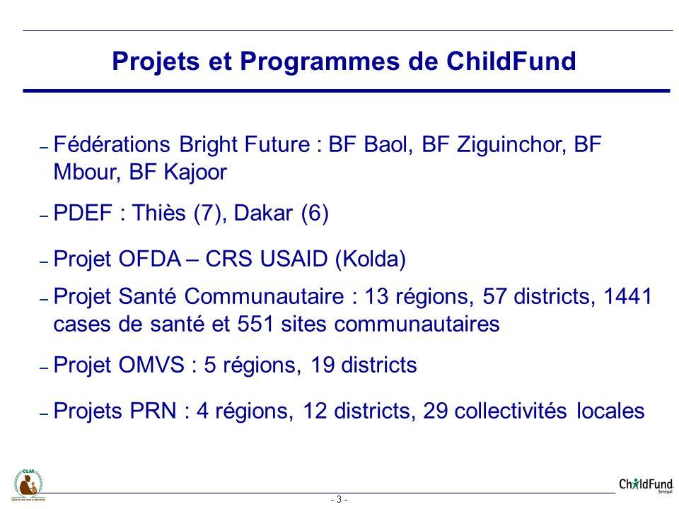 - 3 - – Fédérations Bright Future : BF Baol, BF Ziguinchor, BF Mbour, BF Kajoor – PDEF : Thiès (7), Dakar (6) – Projet OFDA – CRS USAID (Kolda) – Projet Santé Communautaire : 13 régions, 57 districts, 1441 cases de santé et 551 sites communautaires – Projet OMVS : 5 régions, 19 districts – Projets PRN : 4 régions, 12 districts, 29 collectivités locales Projets et Programmes de ChildFund