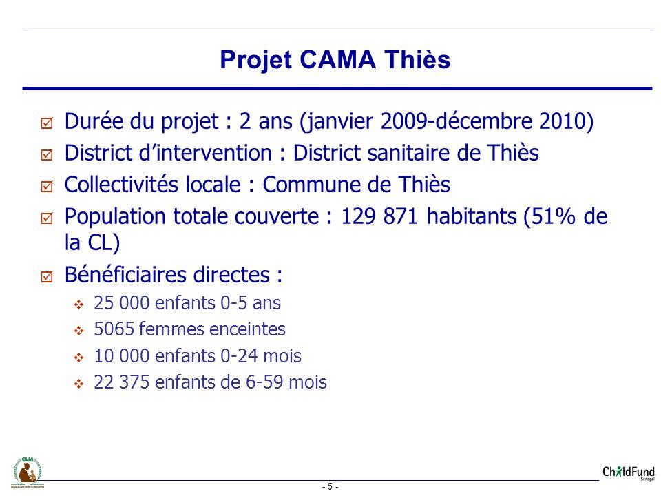 - 5 - Durée du projet : 2 ans (janvier 2009-décembre 2010) District dintervention : District sanitaire de Thiès Collectivités locale : Commune de Thiès Population totale couverte : 129 871 habitants (51% de la CL) Bénéficiaires directes : 25 000 enfants 0-5 ans 5065 femmes enceintes 10 000 enfants 0-24 mois 22 375 enfants de 6-59 mois Projet CAMA Thiès
