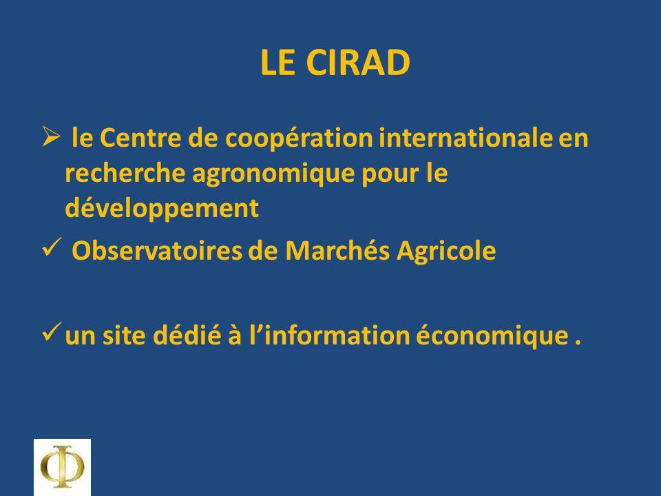 LE CIRAD le Centre de coopération internationale en recherche agronomique pour le développement Observatoires de Marchés Agricole un site dédié à linformation économique.