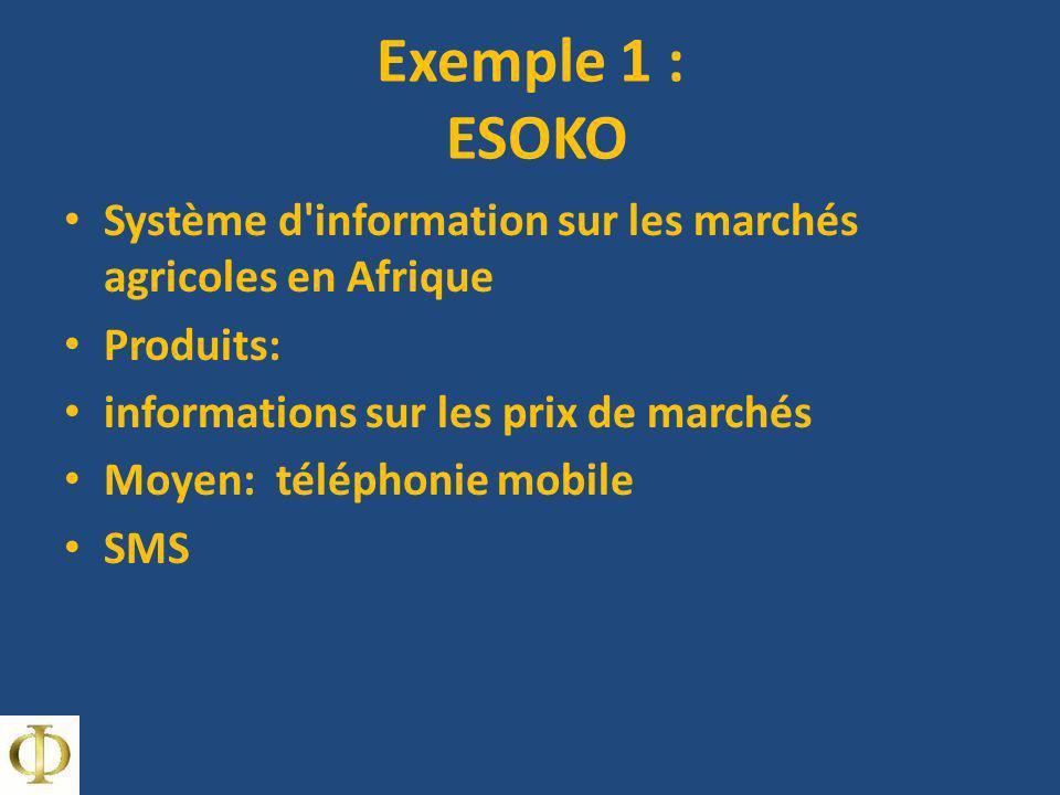 Exemple 1 : ESOKO Système d'information sur les marchés agricoles en Afrique Produits: informations sur les prix de marchés Moyen: téléphonie mobile S