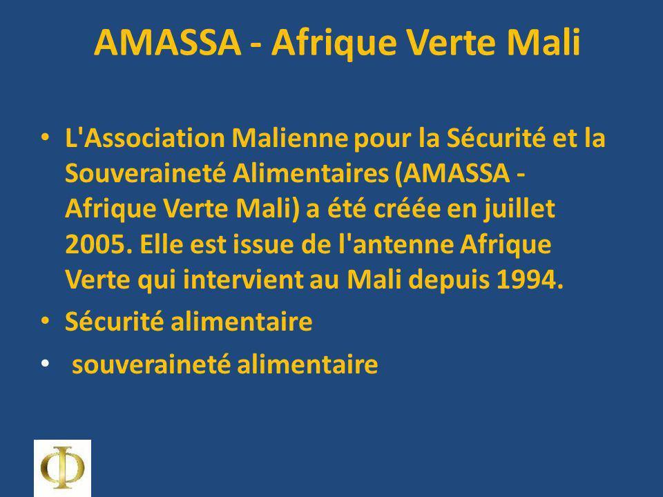 AMASSA - Afrique Verte Mali L Association Malienne pour la Sécurité et la Souveraineté Alimentaires (AMASSA - Afrique Verte Mali) a été créée en juillet 2005.
