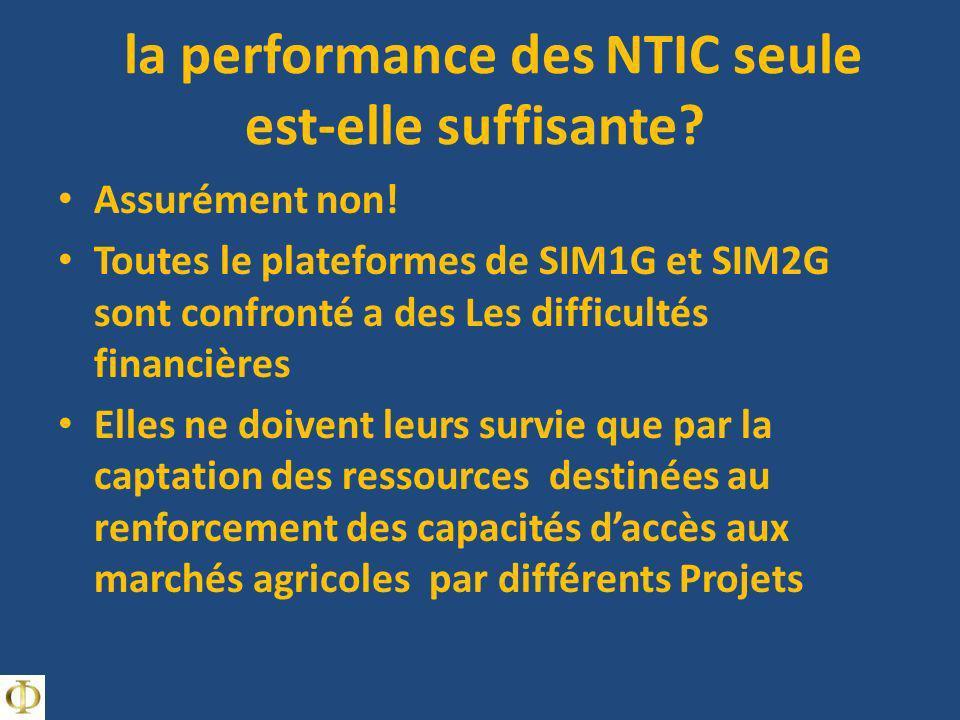 la performance des NTIC seule est-elle suffisante? Assurément non! Toutes le plateformes de SIM1G et SIM2G sont confronté a des Les difficultés financ