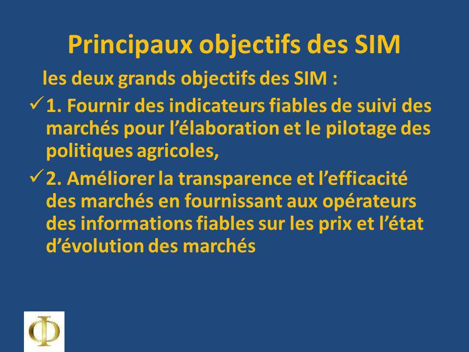 Principaux objectifs des SIM les deux grands objectifs des SIM : 1. Fournir des indicateurs fiables de suivi des marchés pour lélaboration et le pilot