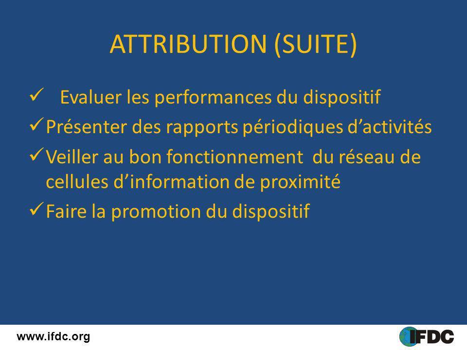 ATTRIBUTION (SUITE) Evaluer les performances du dispositif Présenter des rapports périodiques dactivités Veiller au bon fonctionnement du réseau de ce