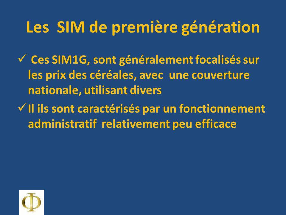 Les SIM de première génération Ces SIM1G, sont généralement focalisés sur les prix des céréales, avec une couverture nationale, utilisant divers Il ils sont caractérisés par un fonctionnement administratif relativement peu efficace