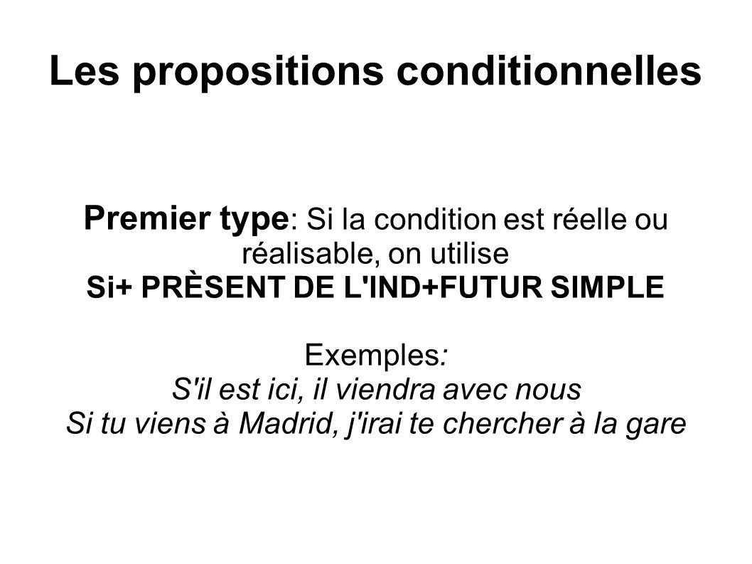 Les propositions conditionnelles Deuxième type : Si la condition est improbable, on utilise Si+ IMPARFAIT+CONDITIONNEL PRÉSENT Exemples: S il allait, il serait en retard Si tu voulais faire du ski, je te prêterais mes skis