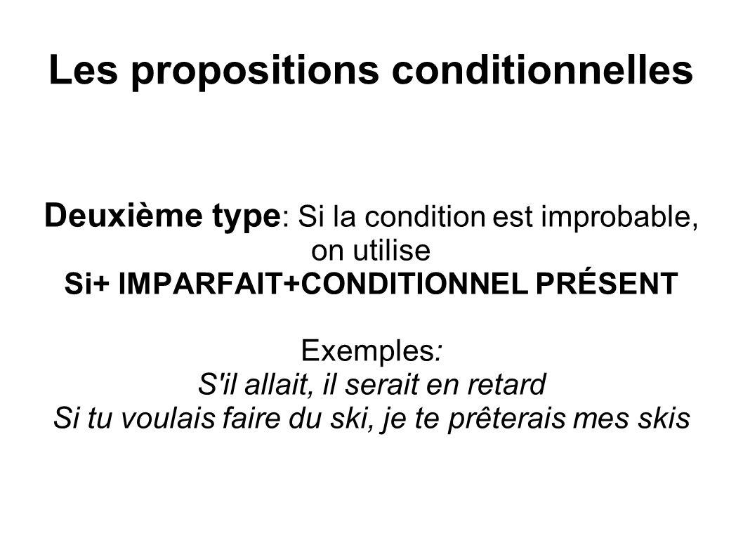 Les propositions conditionnelles Troisième type : Si la possibilité est nulle, on utilise Si+ PLUS-QUE-PARFAIT+CONDITIONNEL PASSÉ Exemples: Si j avais eu plus d argent, j aurais acheté un vélo Si elle avait étudié, elle aurait réussi ses examens