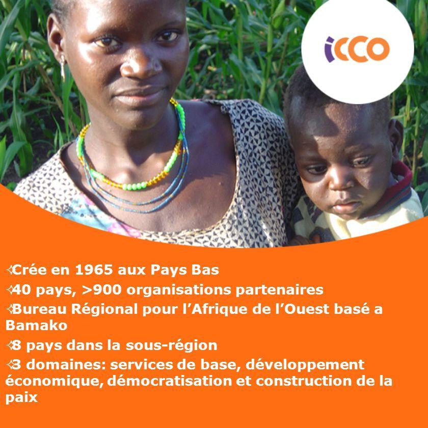 Crée en 1965 aux Pays Bas 40 pays, >900 organisations partenaires Bureau Régional pour lAfrique de lOuest basé a Bamako 8 pays dans la sous-région 3 d