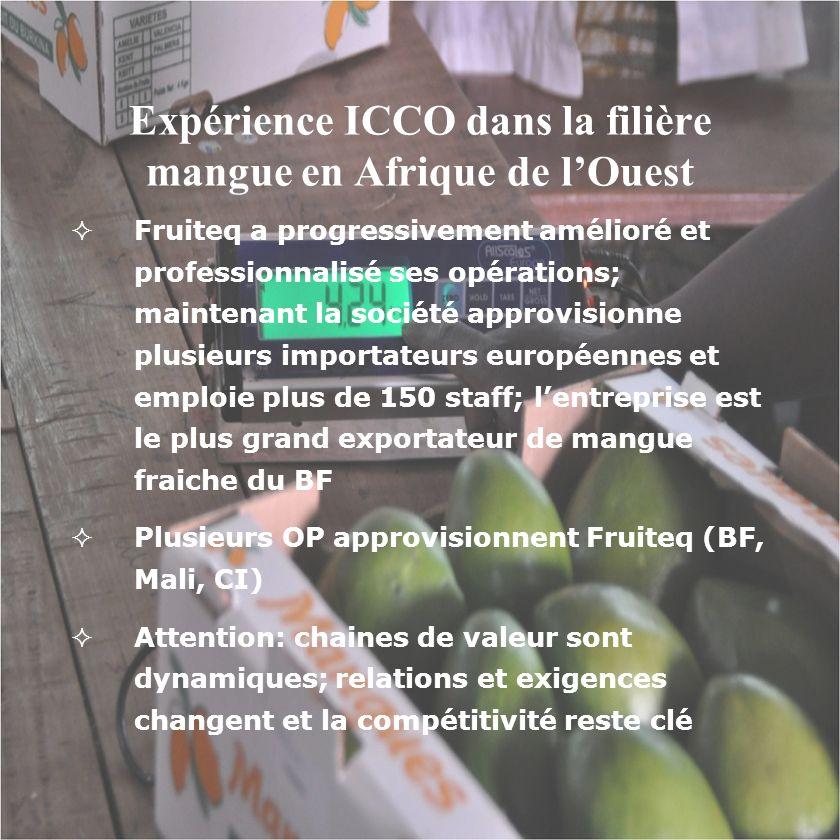 Expérience ICCO dans la filière mangue en Afrique de lOuest Fruiteq a progressivement amélioré et professionnalisé ses opérations; maintenant la socié