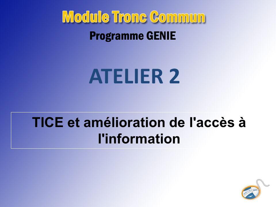 ATELIER 2 TICE et amélioration de l accès à l information