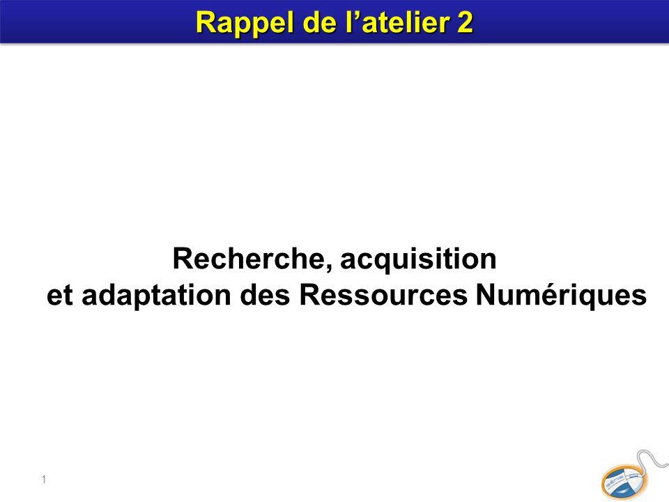 1 Recherche, acquisition et adaptation des Ressources Numériques Rappel de latelier 2