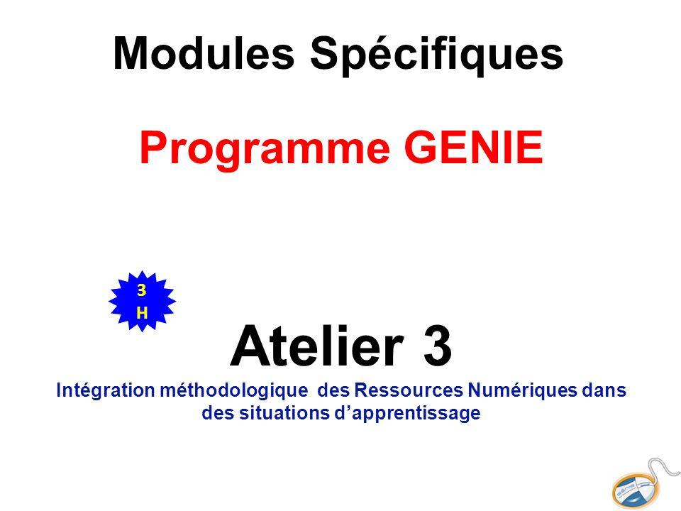 Modules Spécifiques Programme GENIE Atelier 3 Intégration méthodologique des Ressources Numériques dans des situations dapprentissage 3H3H
