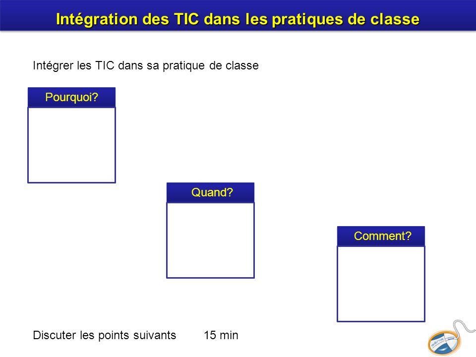 Intégration des TIC dans les pratiques de classe Discuter les points suivants 15 min Intégrer les TIC dans sa pratique de classe Pourquoi.