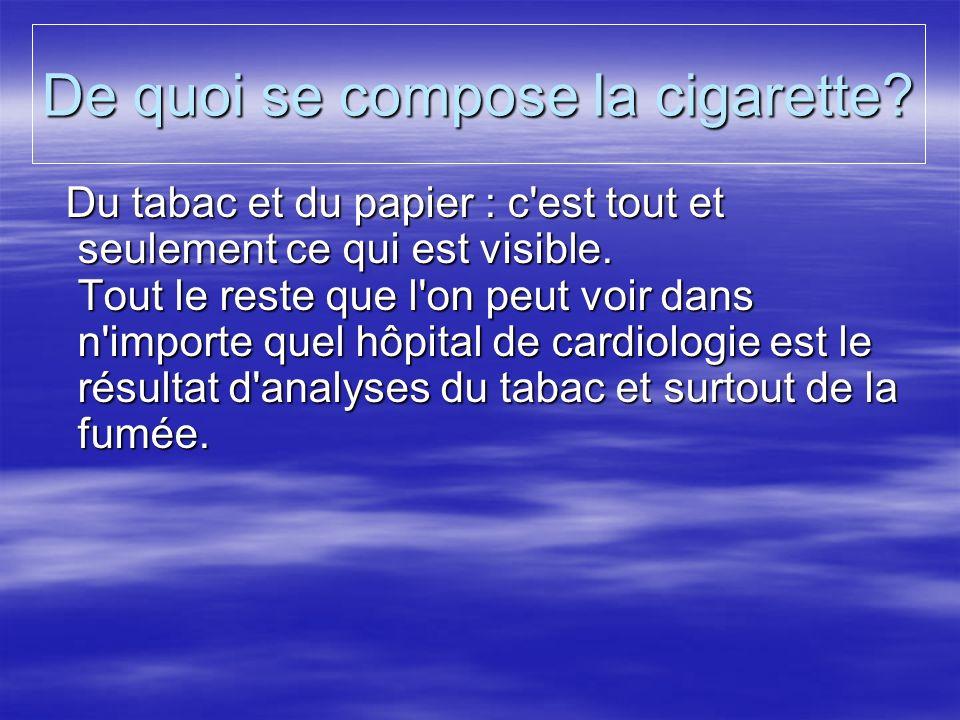 De quoi se compose la cigarette? Du tabac et du papier : c'est tout et seulement ce qui est visible. Tout le reste que l'on peut voir dans n'importe q