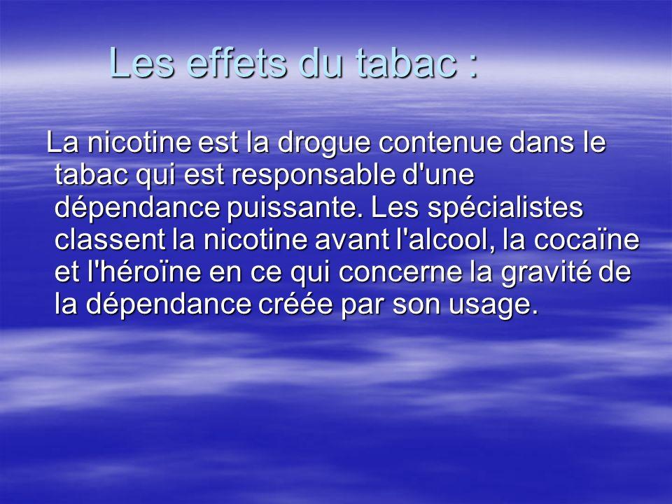 Les effets du tabac : La nicotine est la drogue contenue dans le tabac qui est responsable d'une dépendance puissante. Les spécialistes classent la ni