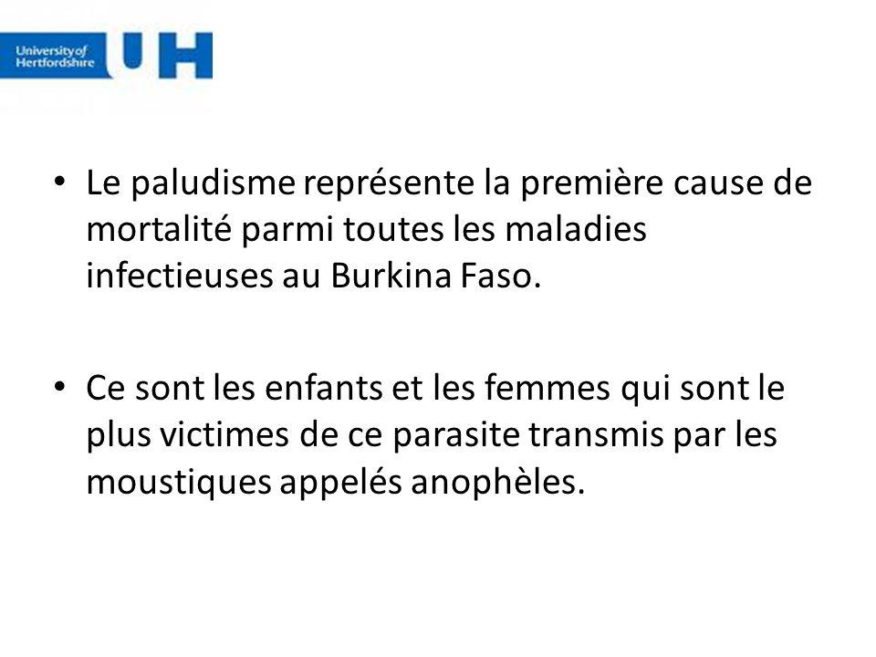 Le paludisme représente la première cause de mortalité parmi toutes les maladies infectieuses au Burkina Faso. Ce sont les enfants et les femmes qui s