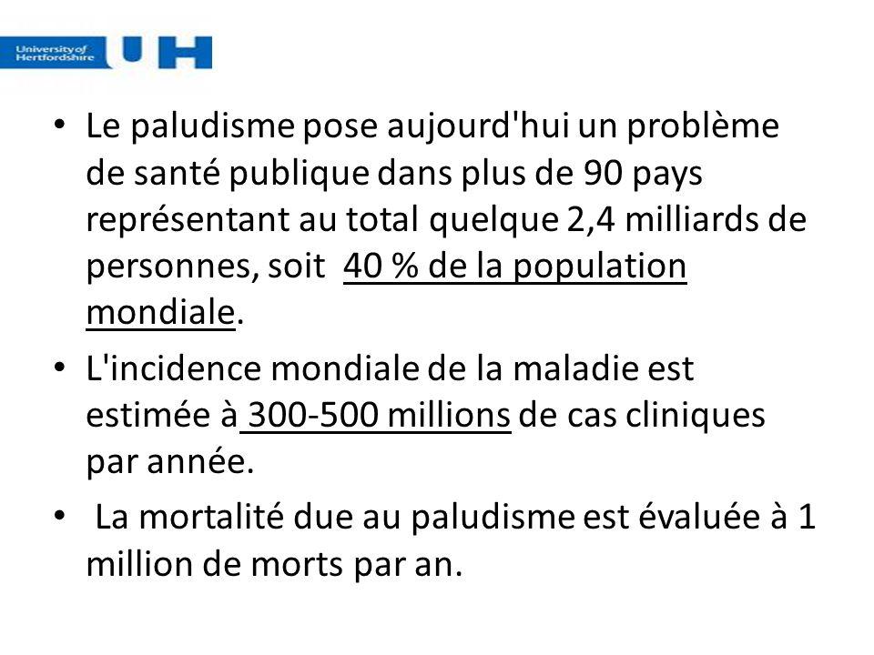 Le paludisme pose aujourd'hui un problème de santé publique dans plus de 90 pays représentant au total quelque 2,4 milliards de personnes, soit 40 % d