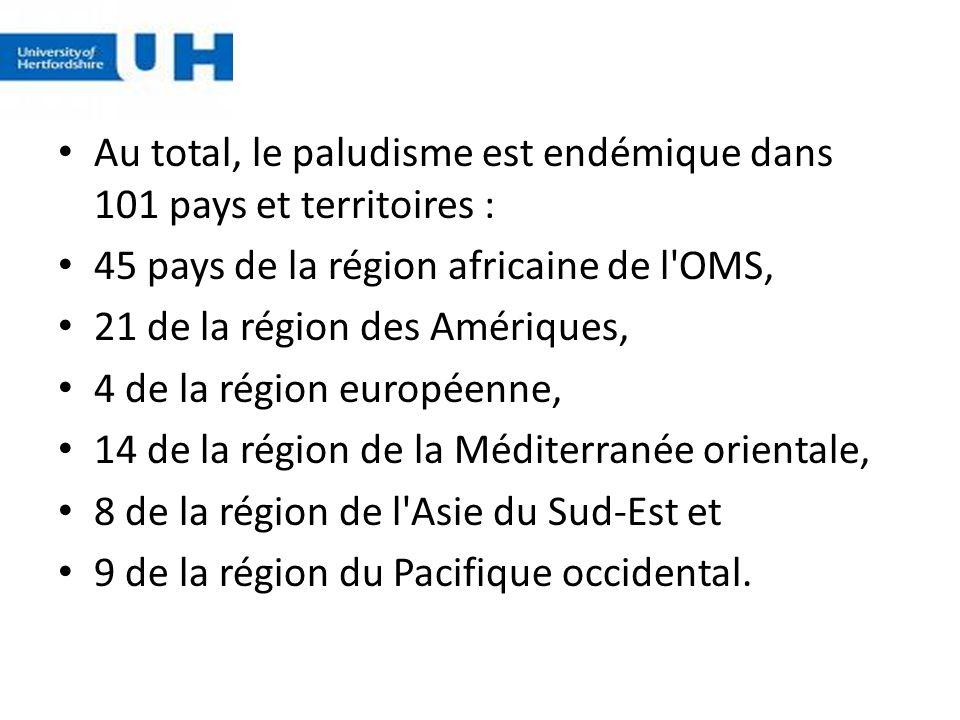 Au total, le paludisme est endémique dans 101 pays et territoires : 45 pays de la région africaine de l'OMS, 21 de la région des Amériques, 4 de la ré