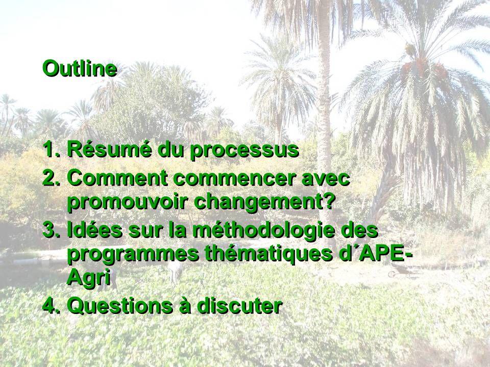 Outline 1.Résumé du processus 2.Comment commencer avec promouvoir changement? 3.Idées sur la méthodologie des programmes thématiques d´APE- Agri 4.Que