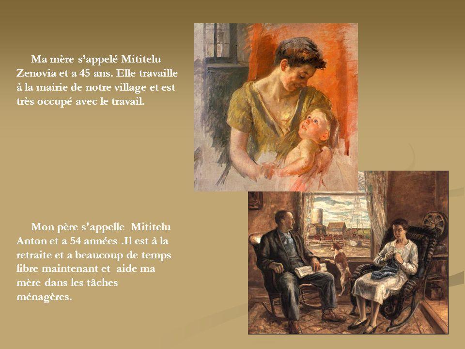 Ma mère sappelé Mititelu Zenovia et a 45 ans. Elle travaille à la mairie de notre village et est très occupé avec le travail. Mon père s'appelle Mitit