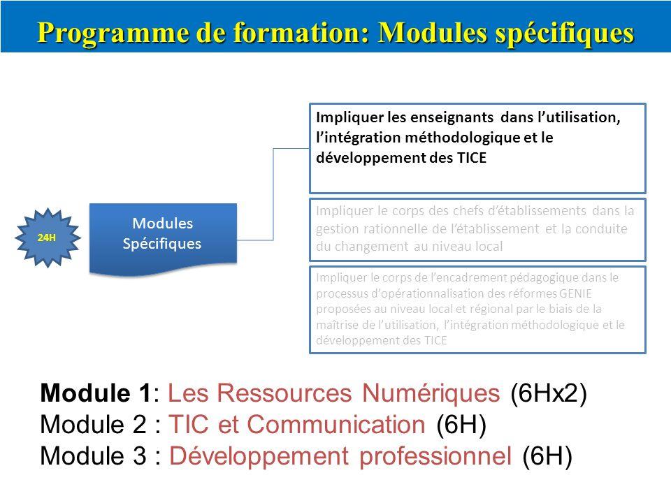 Programme de formation: Modules spécifiques Modules Spécifiques Impliquer les enseignants dans lutilisation, lintégration méthodologique et le dévelop
