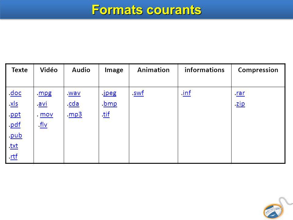 TexteVidéoAudioImageAnimationinformationsCompression.docdoc.xlsxls.pptppt.pdfpdf.pubpub.txttxt.rtfrtf.mpgmpg.aviavi. movmov.flvflv.wavwav.cdacda.mp3mp