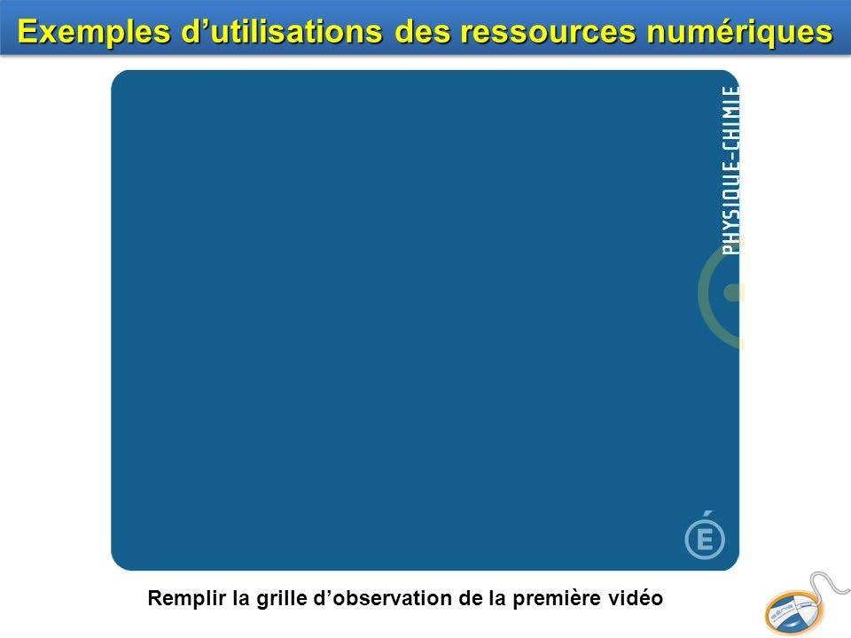 Remplir la grille dobservation de la première vidéo Exemples dutilisations des ressources numériques http://www.educnet.education.fr/canal-educnet /n