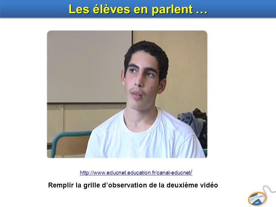 Les élèves en parlent … Remplir la grille dobservation de la deuxième vidéo http://www.educnet.education.fr/canal-educnet /