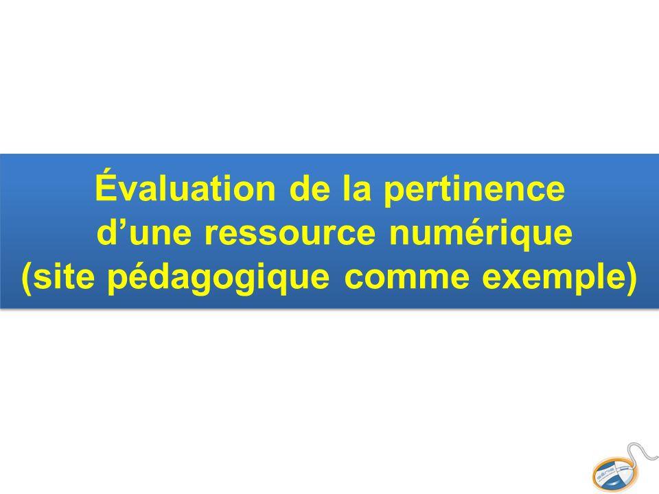 Évaluation de la pertinence dune ressource numérique (site pédagogique comme exemple)