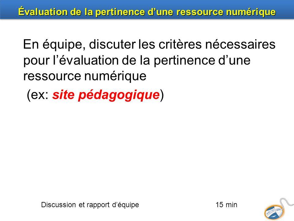 En équipe, discuter les critères nécessaires pour lévaluation de la pertinence dune ressource numérique (ex: site pédagogique) Discussion et rapport d