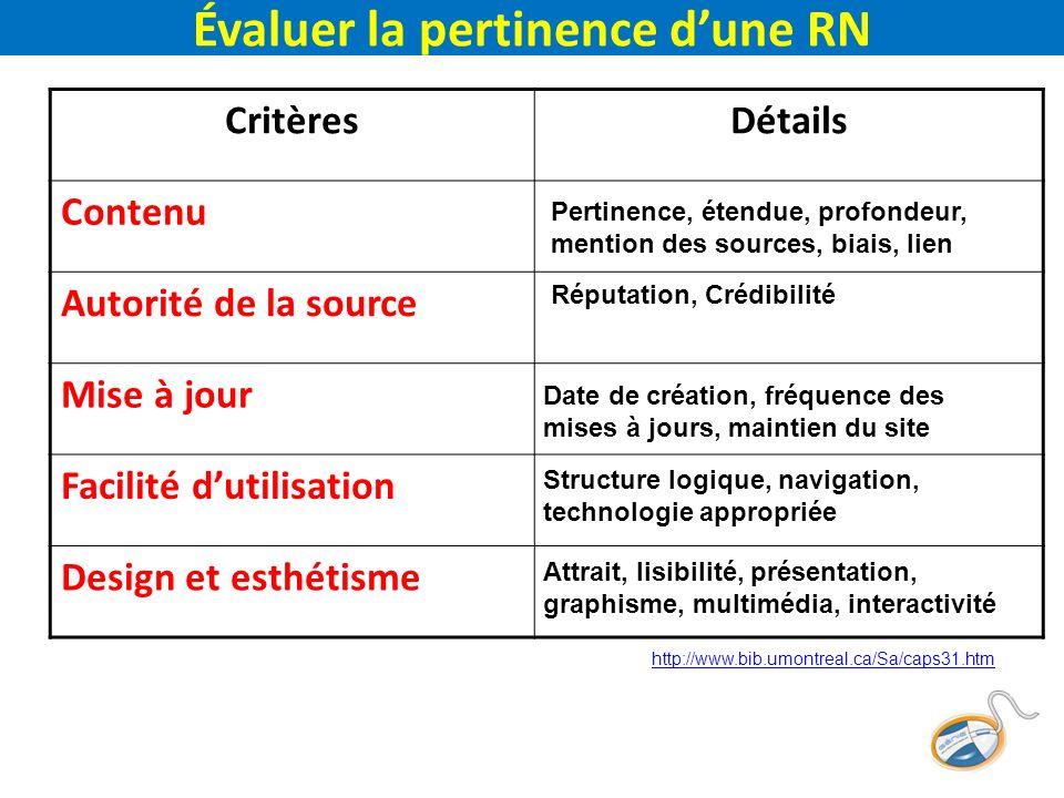 Évaluer la pertinence dune RN CritèresDétails Contenu Autorité de la source Mise à jour Facilité dutilisation Design et esthétisme Pertinence, étendue