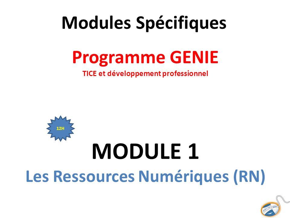 Modules Spécifiques Programme GENIE TICE et développement professionnel MODULE 1 Les Ressources Numériques (RN) 12H