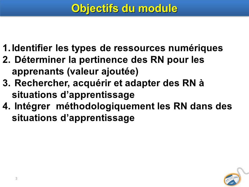 3 1.Identifier les types de ressources numériques 2. Déterminer la pertinence des RN pour les apprenants (valeur ajoutée) 3. Rechercher, acquérir et a